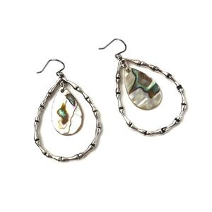 Vintage | Abalone Dangle Drop Earrings Silver Boho